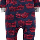 Carter's Boy's Size 3T, 4T, 5T Navy Firetruck Print Fleece Footed Pajama Sleeper