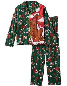 SCOOBY-DOO Christmas Holiday Boy's Size 10/12 Flannel Coat Pajama Set