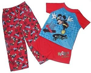 MICKEY MOUSE Toddler Boy's Size 4T 3-Piece SKATEBOARDING Pajama Pants Set