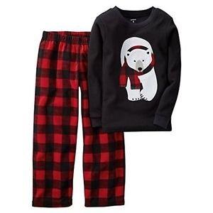 Carter's Boy's Size 4 Thermal Polar Bear, Fleece Plaid Pajama Pants Set