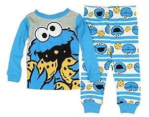 Sesame Street Baby Boys' 12 Months Cookie Monster Striped Pajama Set