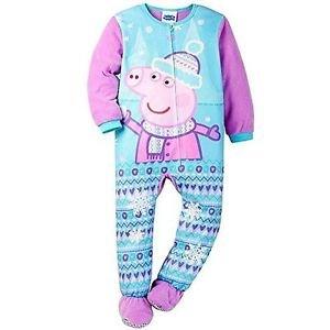 PEPPA PIG Winter Snowflakes Girl's 3T, 4T OR 5T Fleece Footed Pajama Sleeper