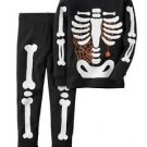 Carter's Boys 3T, 4T, 5T Black Halloween Glow-in-the-Dark Skeleton Pajama Pj Set