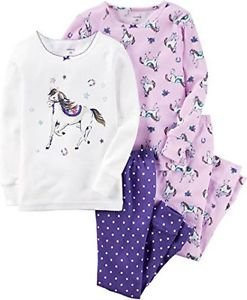 CARTER'S Girl's 4-Piece Size 3T Purple Horse Pony Dot Pajama Set