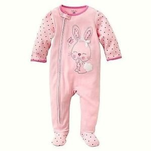 FIRST MOMENTS Girl's 3, 6 or 9 Months Pink BUNNY Sleep 'n Play Romper, Easter