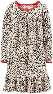 CARTER'S Girl's Size 4-5 Tan Cheetah Print Fleece Nightgown, Gown