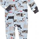 Boy's Size 4T Puppy Dog Blue Fleece Footed Pajama Sleeper