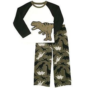 CARTER'S Boy's Size 4 Green DINOSAUR Fleece Pajama Set