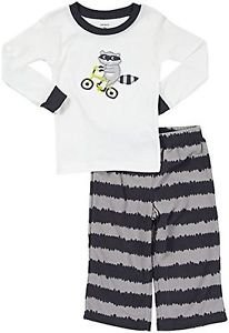 CARTER'S Boy's 3T Biker Raccoon Cotton Fleece Pajama Pants Set