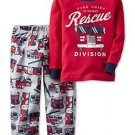 Carter's Boy's Size 3T, 4T OR 5T Rescue Firetruck Cotton and Fleece Pajama Set