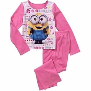 DESPICABLE ME MINION BOB Girl's 6/6X OR 7/8 Flannel Fleece Pajama Set