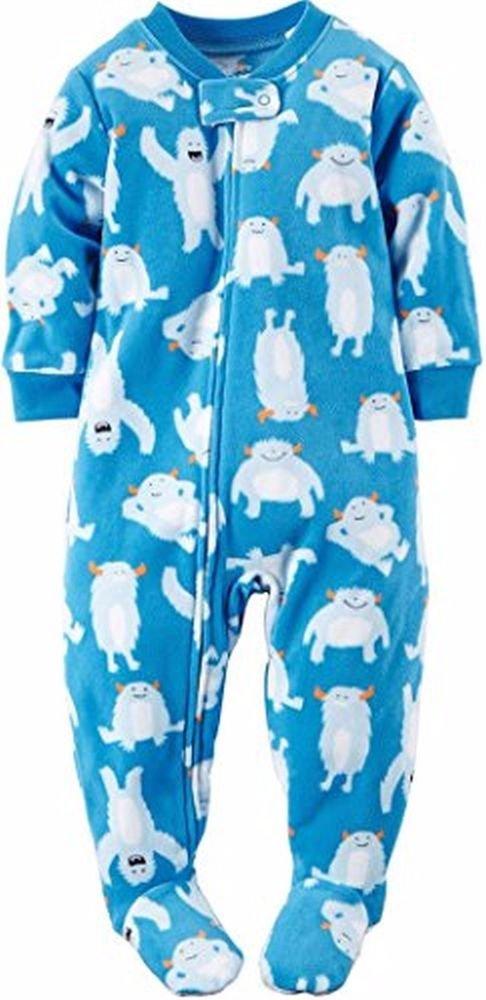 Carter's Boy's 3T Blue Snow Monster Fleece Footed Pajama Sleeper
