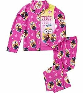 DESPICABLE ME Bob Minion TRES CUTE Girl's Size 6/6X Coat Flannel Pajama Set