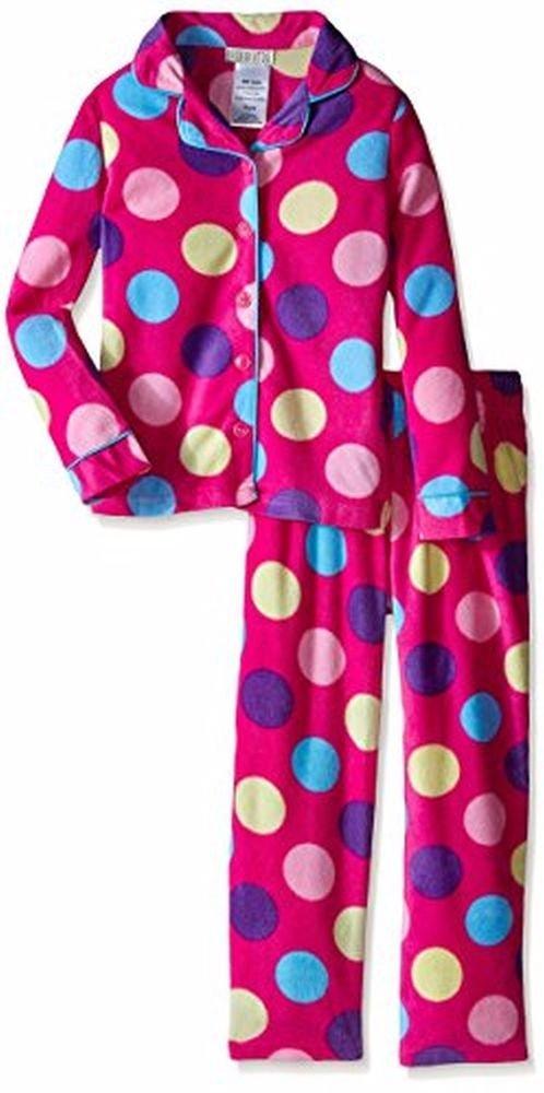 Komar Kids Girls' 4/5 OR 7/8 Micro Fleece 2 Piece Dot Pajama Set