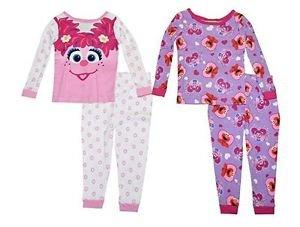 Sesame Street Girls' Abby and Elmo 4T 4-Piece Cotton Pajama Set