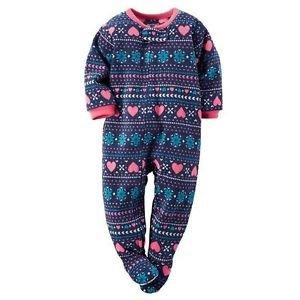 CARTER'S Girl's 2T, 3T, 4T OR 5T Blue Fair Isle Fleece Blanket Pajama Sleeper
