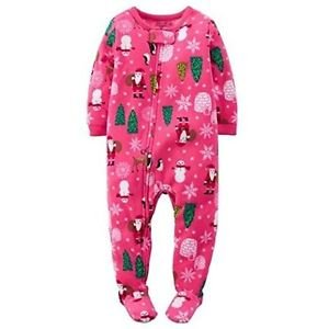 Girl's Size 4T Pink Christmas Trees, Santa Fleece Footed Pajama Sleeper