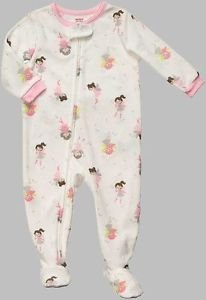 CARTER'S Girl's Size 4T White FAIRY Micro-Fleece Footed Pajama Sleeper