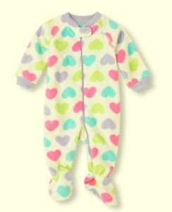 Toddler Girl's Size 3T OR 5T HEARTS Fleece Footed Blanket Pajama Sleeper