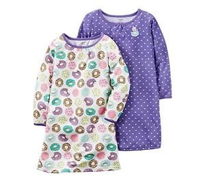 CARTER'S Girl's Donut Print and Purple Hearts Kitty Cat Size 8-10 Nightgown Set
