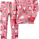 Carter's Girl's 3T, 4T OR 5T Pink Santa Clause Print Cotton Christmas Pajama Set
