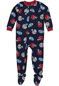 Carter's Boy's Size 5T Navy Football Print Fleece Footed Pajama Sleeper