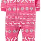 CARTER'S Girl's 3T Pink Reindeer Fair Isle Blanket Fleece Pajama Sleeper
