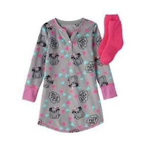 Girl's Size 5/6 Gray, Pink Faur Fux Pug Nightgown, Fleece Sock Set