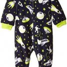Toddler Boy's 3T Black SPACE UFO Fleece Footed Pajama Sleeper