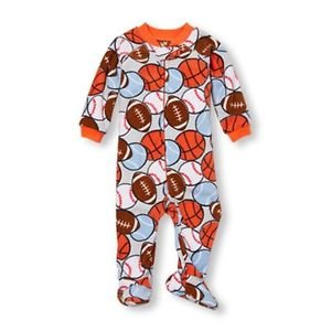 Toddler Boy's 5T Sports Football, Baseball Fleece Footed Blanket Pajama Sleeper