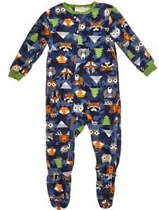 Toddler Boy's 3T OR 4T Woodland Forest Animals Fleece Footed Pajama Sleeper