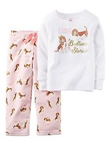 Carter's Girl's Size 4 I Love Bedtime Stories Puppy Dog 2-Piece Pajama Set