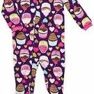 Carter's Girl's 3T Cupcake Dark Purple Fleece Footed Blanket Pajama Sleeper