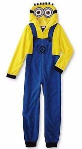 DESPICABLE ME Boy's Size 6 OR 8 Fleece Hooded Minion Pajama Sleeper