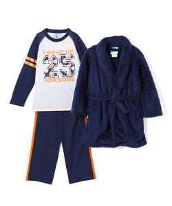 BUNZ KIDZ Boy's Size 5 OR 6 I WOKE UP AWESOME Sports Navy Fleece Robe Set