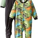 Boy's Size 4T DINOSAUR Dino Set of 2 Fleece Footed Blanket Pajama Sleepers