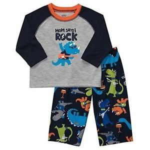 Carter's Boy's 2T Triceratops Dino Mom Say's I Rock Pajama Set