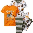 CARTER'S Boy's 3T 4-Piece JUNGLE ANIMAL Wild About Bedtime Pajama Set