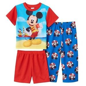 Boy's 3T Mickey and Donald 3-Piece Beach Themed Pajama Set