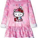 Hello Kitty Girl's Size 6-6X OR 10-12 Pink Velour Winter Nightgown, Gown