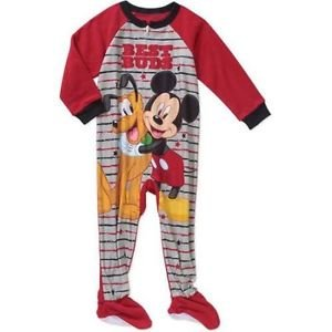 Disney MICKEY and PLUTO Boy's 2T, 3T, 4T OR 5T Fleece Footed Pajama Sleeper