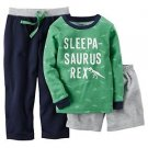 Carters Little Boys 3-Piece Cotton & French Terry PJs Sleepasaurus 4T