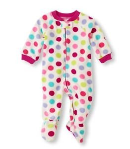 Toddler Girl's Size 3T, 4T OR 5T Fleece DOTS Footed Blanket Pajama Sleeper