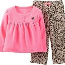 CARTER'S Girl's 5T Pink Fleece Top, Leopard Print Pants Pajama Set