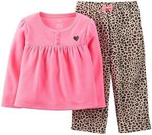 CARTER'S Girl's 5T Pink Fleece Top, Leopard Print Pants Pajama Set
