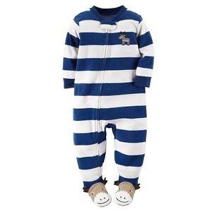 Carter's Boy's Size 3T, 4T OR 5T Fleece Striped Moose Blanket Pajama Sleeper