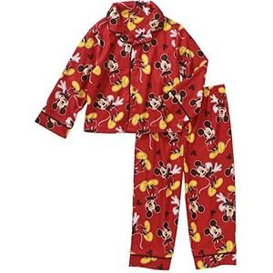Disney MICKEY Boys' 2T, 3T, 4T OR 5T Flannel Print Pajama Set