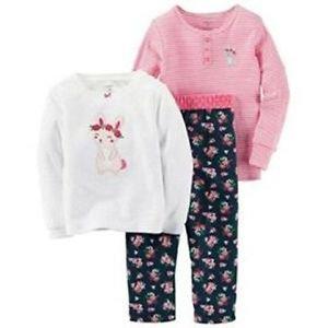 CARTER'S Girl's Size 3T 3-Piece Bunny Floral Fleece Cotton Pajama Pants Set