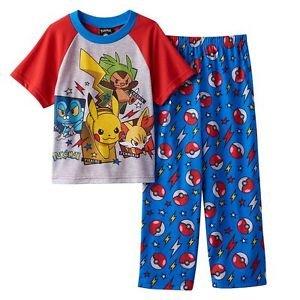Pokemon Boy's Size 8 Pikachu, Fennekin, Chespin Pajama Set