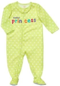 CARTER'S Girl's Lime Green Polka Dot DADDY'S PRINCESS Pajama Sleeper 3T